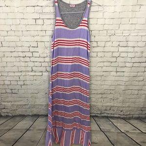 Splendid girls purple red striped maxi dress